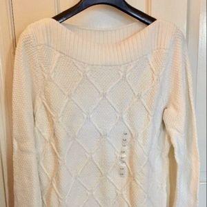 LOFT Boatneck Long Diamond Cable Sweater Ivory LP